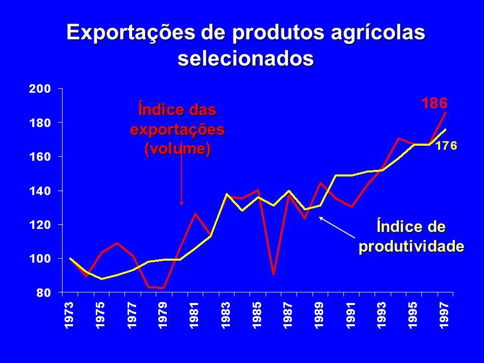Exportações de produtos agrícolas selecionados