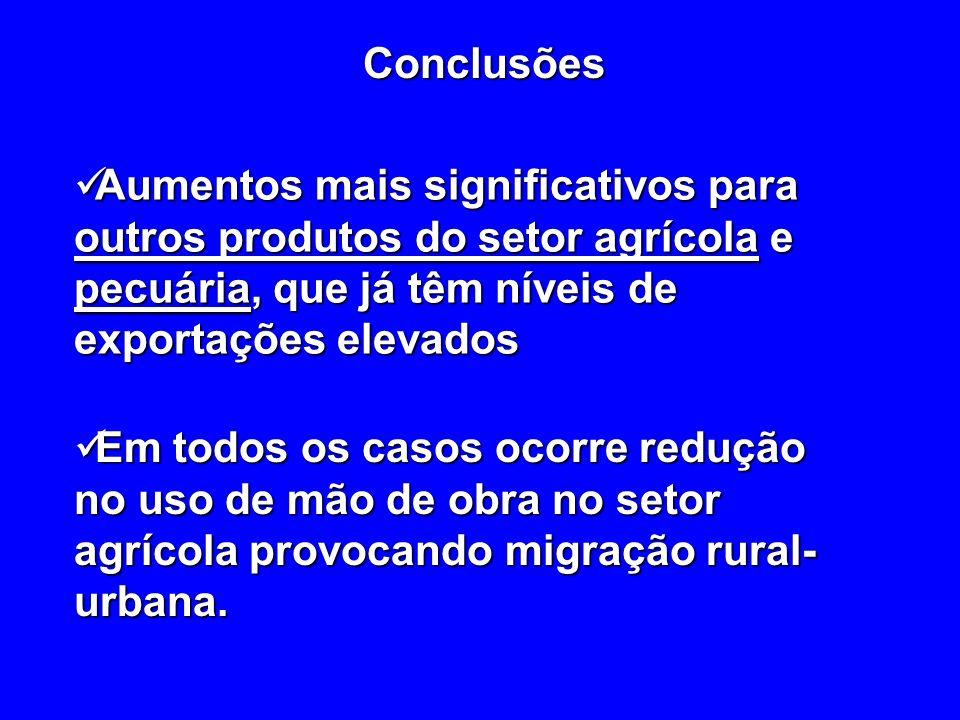 Conclusões Aumentos mais significativos para outros produtos do setor agrícola e pecuária, que já têm níveis de exportações elevados.
