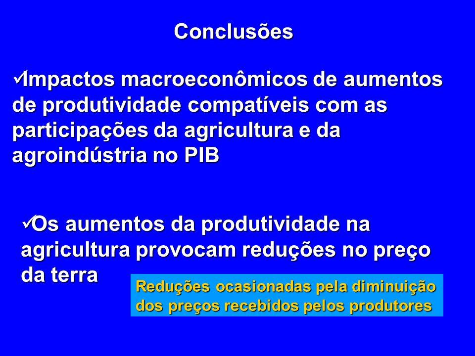Conclusões Impactos macroeconômicos de aumentos de produtividade compatíveis com as participações da agricultura e da agroindústria no PIB.