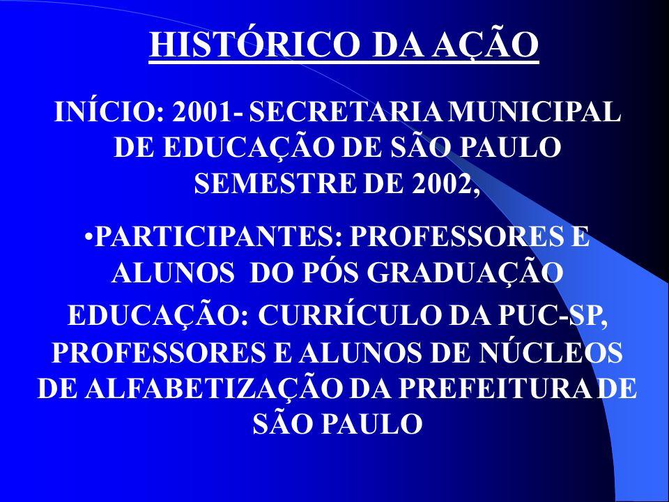 HISTÓRICO DA AÇÃOINÍCIO: 2001- SECRETARIA MUNICIPAL DE EDUCAÇÃO DE SÃO PAULO SEMESTRE DE 2002,