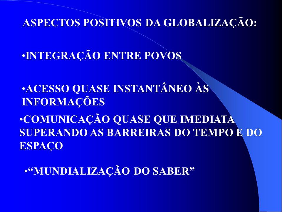 ASPECTOS POSITIVOS DA GLOBALIZAÇÃO: