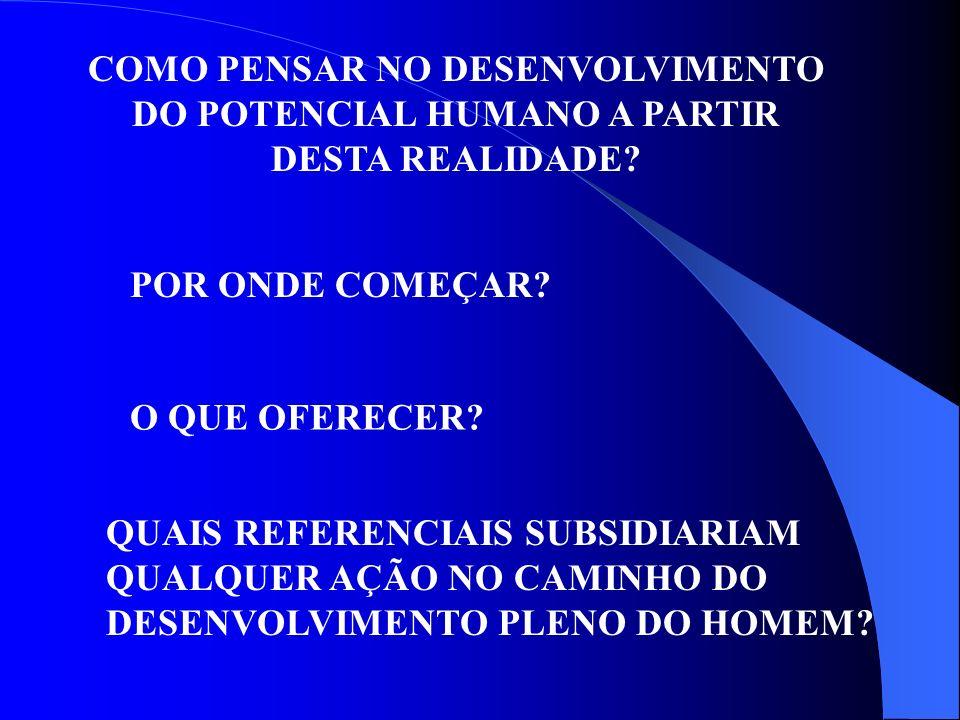 COMO PENSAR NO DESENVOLVIMENTO DO POTENCIAL HUMANO A PARTIR DESTA REALIDADE