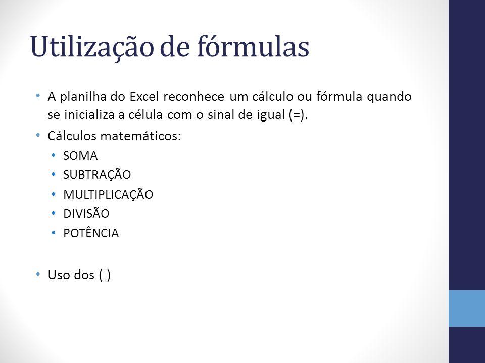 Utilização de fórmulas