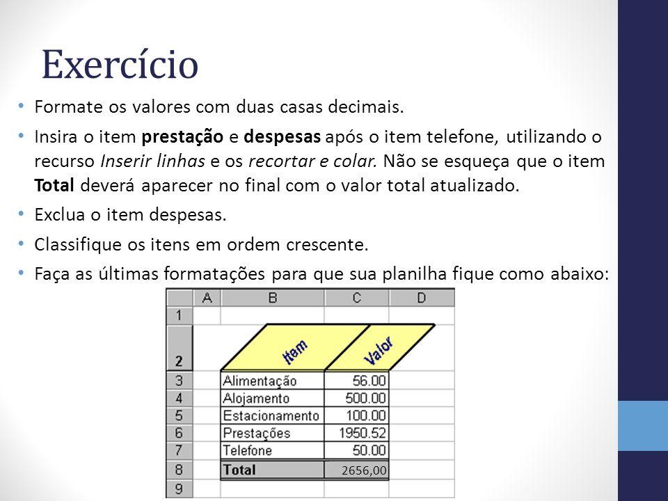 Exercício Formate os valores com duas casas decimais.