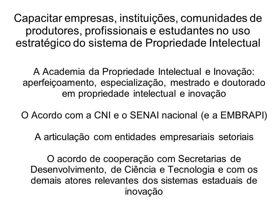 Capacitar empresas, instituições, comunidades de produtores, profissionais e estudantes no uso estratégico do sistema de Propriedade Intelectual