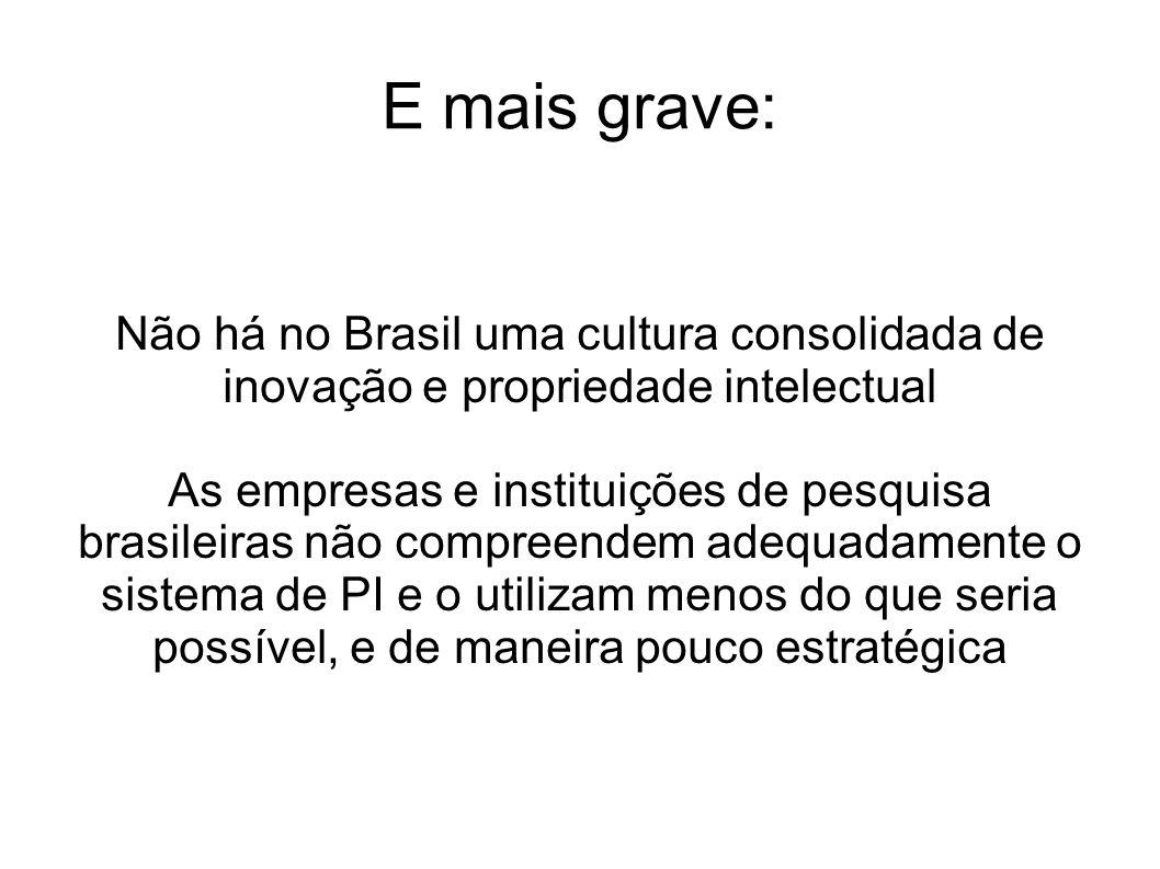 E mais grave: Não há no Brasil uma cultura consolidada de inovação e propriedade intelectual.