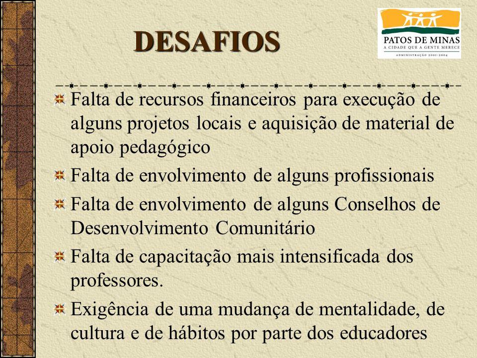 DESAFIOS Falta de recursos financeiros para execução de alguns projetos locais e aquisição de material de apoio pedagógico.