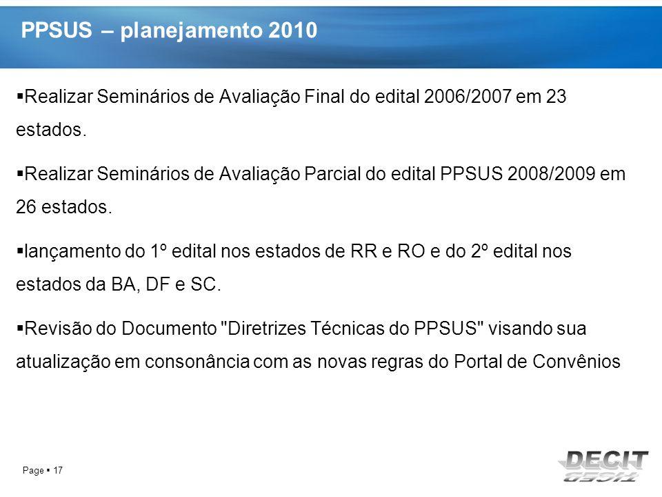 PPSUS – planejamento 2010 Realizar Seminários de Avaliação Final do edital 2006/2007 em 23 estados.