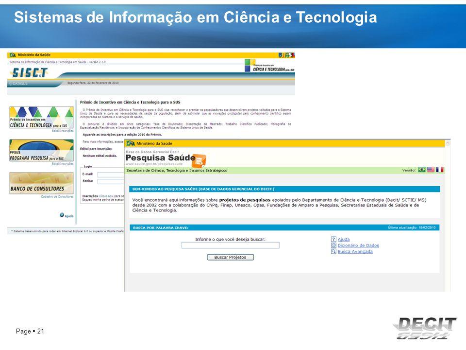 Sistemas de Informação em Ciência e Tecnologia