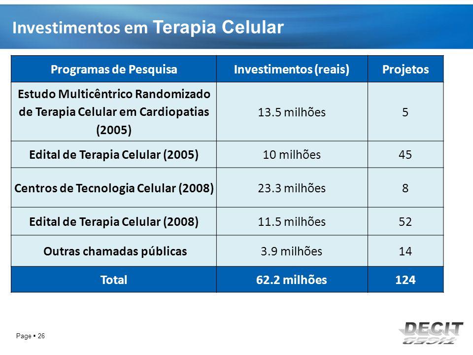 Investimentos em Terapia Celular