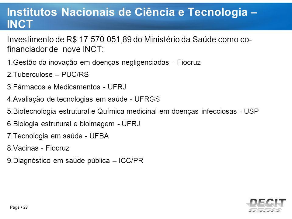 Institutos Nacionais de Ciência e Tecnologia – INCT