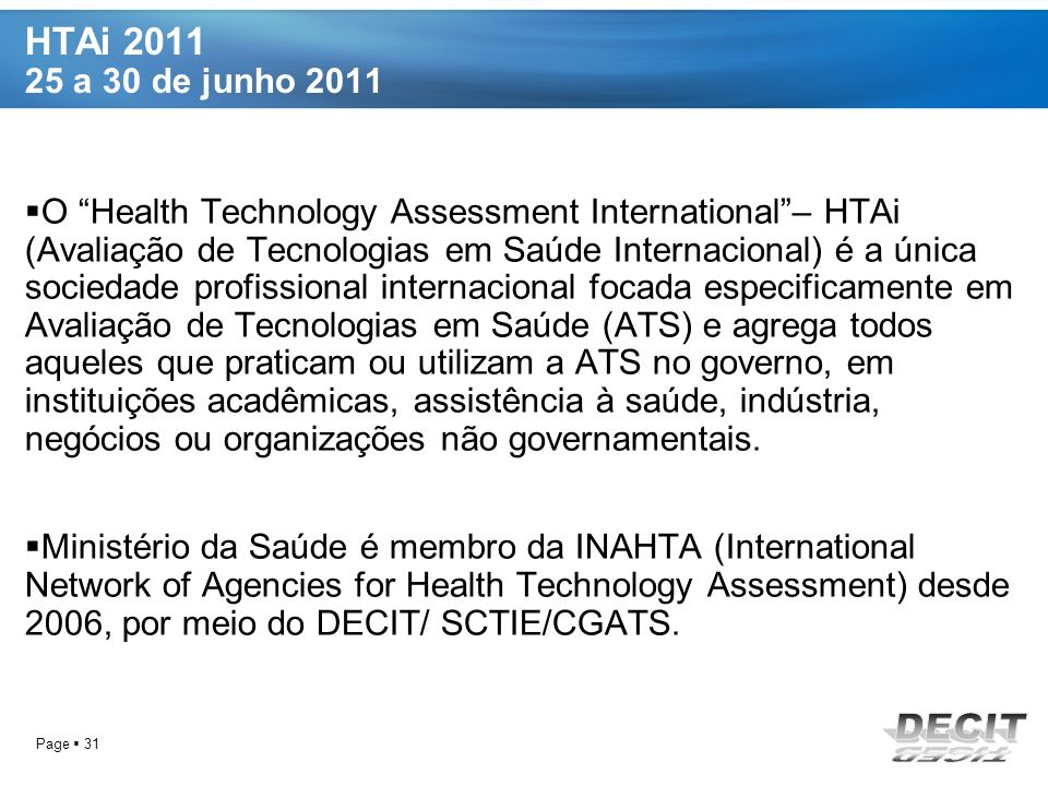 HTAi 2011 25 a 30 de junho 2011