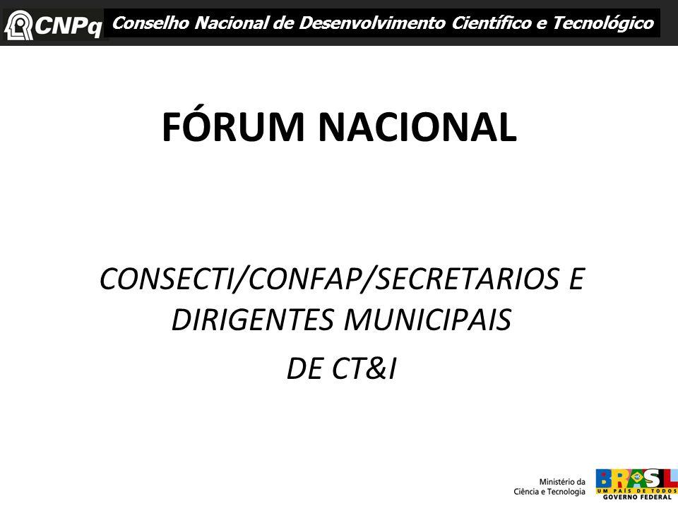 CONSECTI/CONFAP/SECRETARIOS E DIRIGENTES MUNICIPAIS DE CT&I
