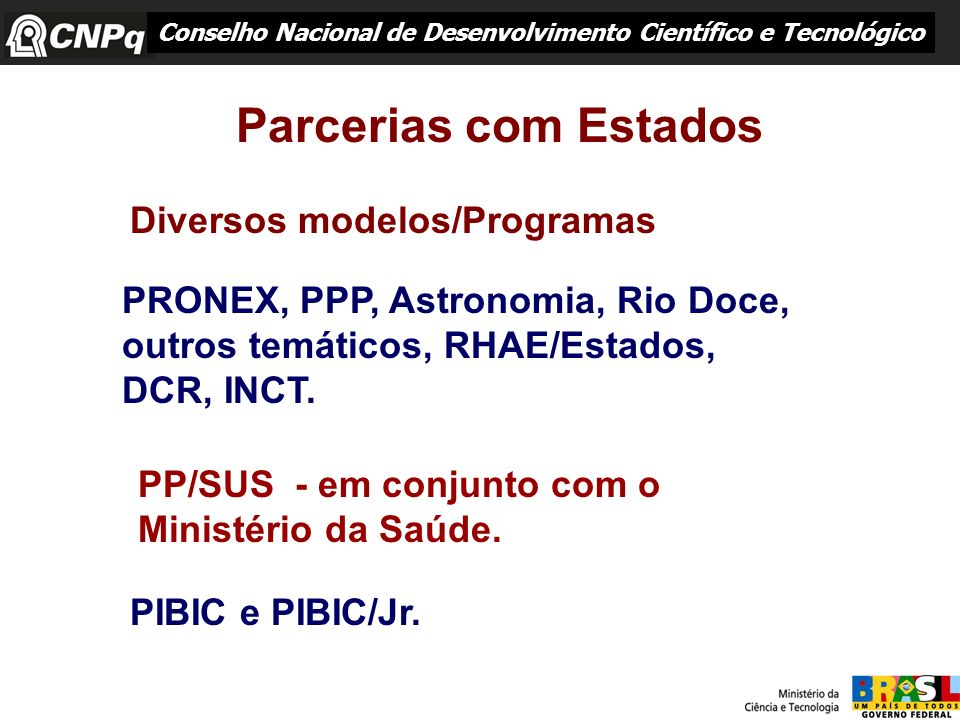 Parcerias com Estados Diversos modelos/Programas