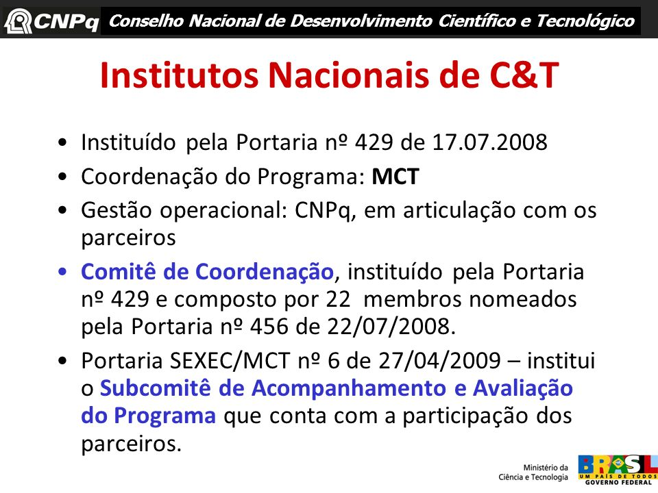 Institutos Nacionais de C&T