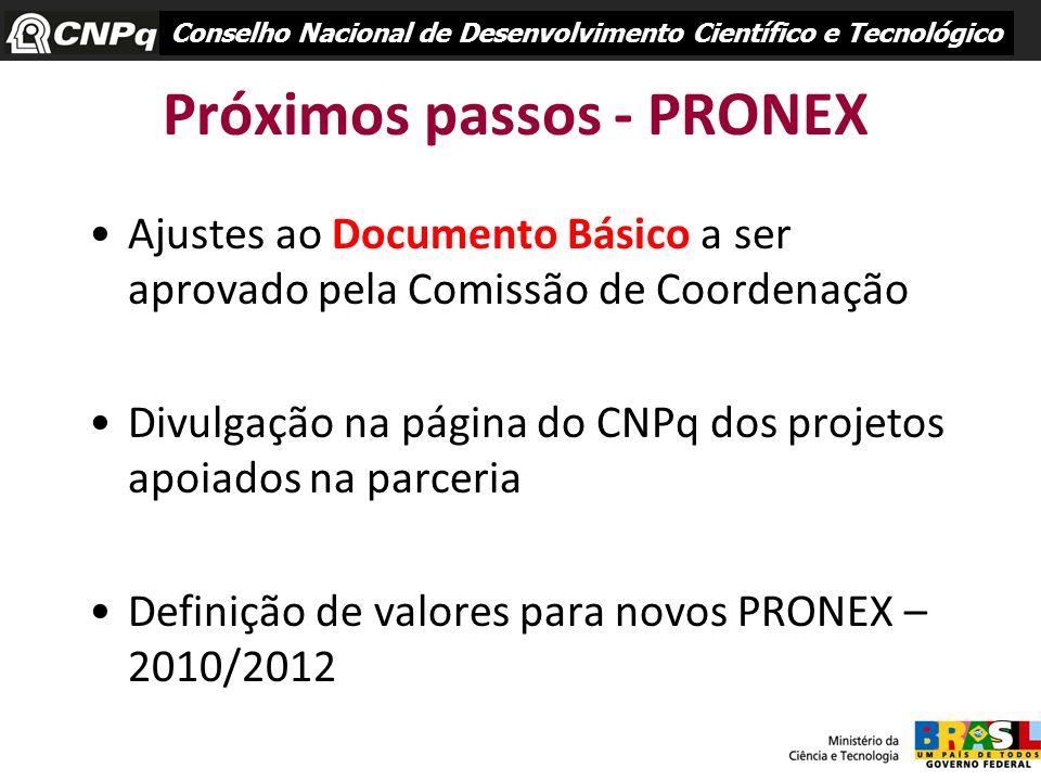 Próximos passos - PRONEX