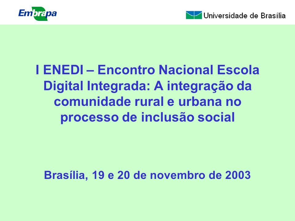 I ENEDI – Encontro Nacional Escola Digital Integrada: A integração da comunidade rural e urbana no processo de inclusão social Brasília, 19 e 20 de novembro de 2003