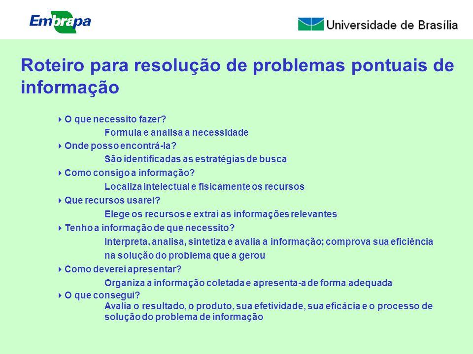 Roteiro para resolução de problemas pontuais de informação