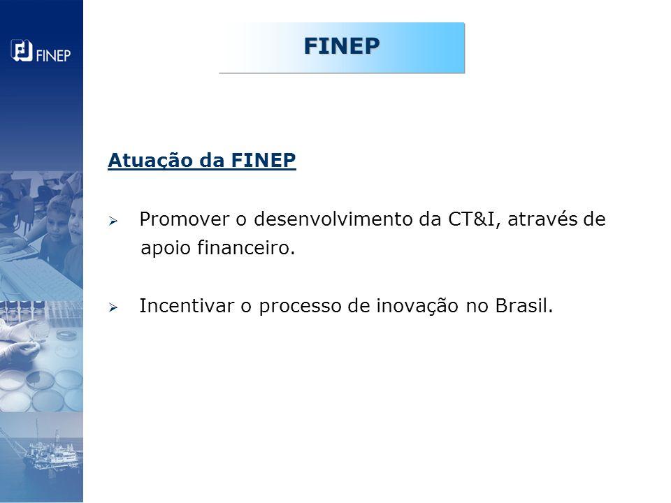 FINEP Atuação da FINEP Promover o desenvolvimento da CT&I, através de