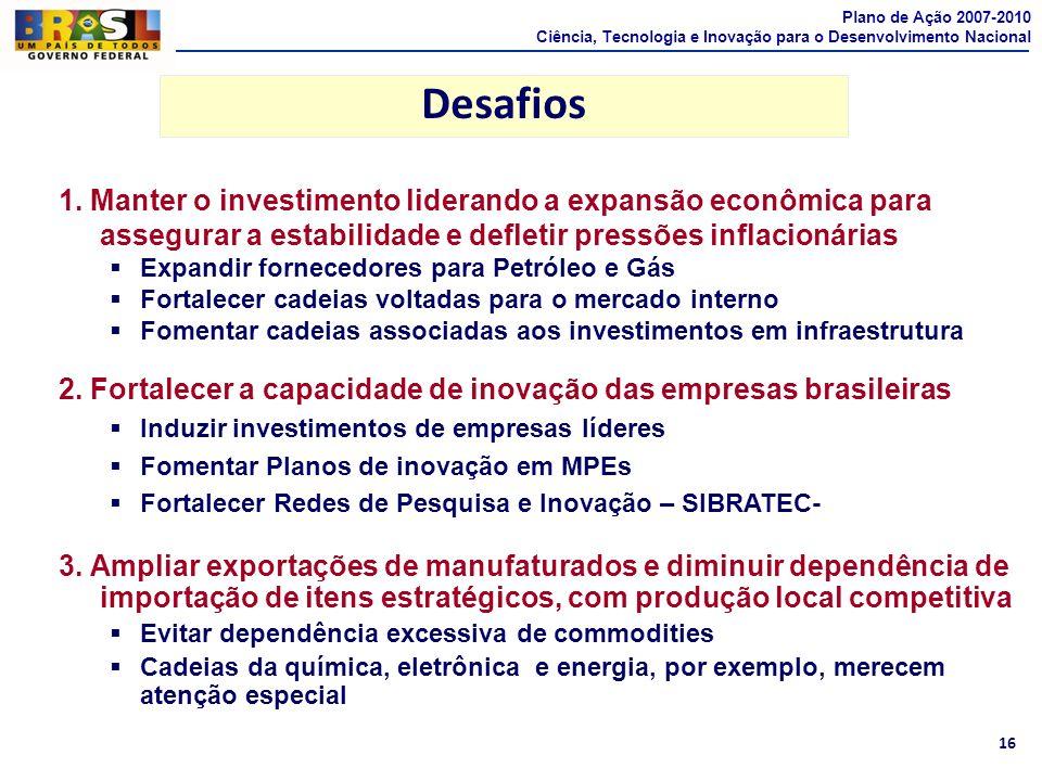 Plano de Ação 2007-2010Ciência, Tecnologia e Inovação para o Desenvolvimento Nacional. Desafios.