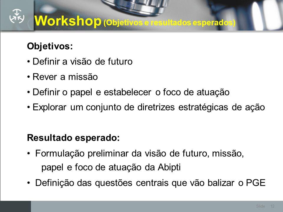 Workshop (Objetivos e resultados esperados)