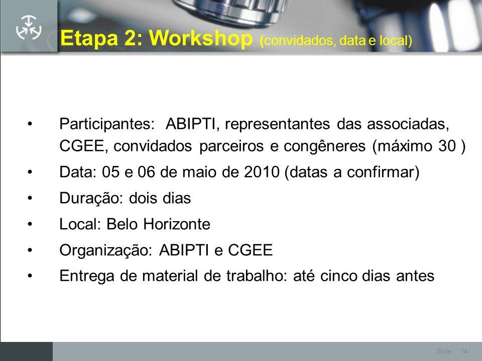 Etapa 2: Workshop (convidados, data e local)