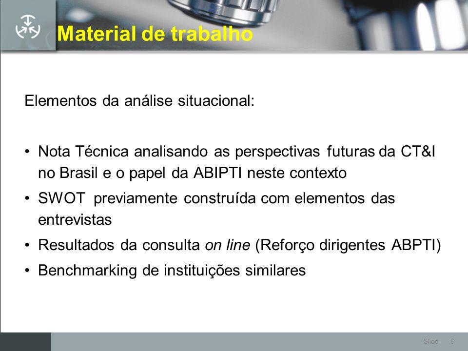 Material de trabalho Elementos da análise situacional: