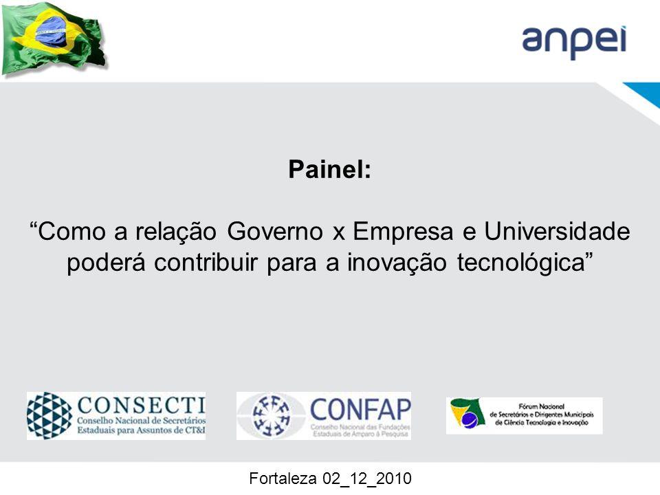 Painel: Como a relação Governo x Empresa e Universidade poderá contribuir para a inovação tecnológica