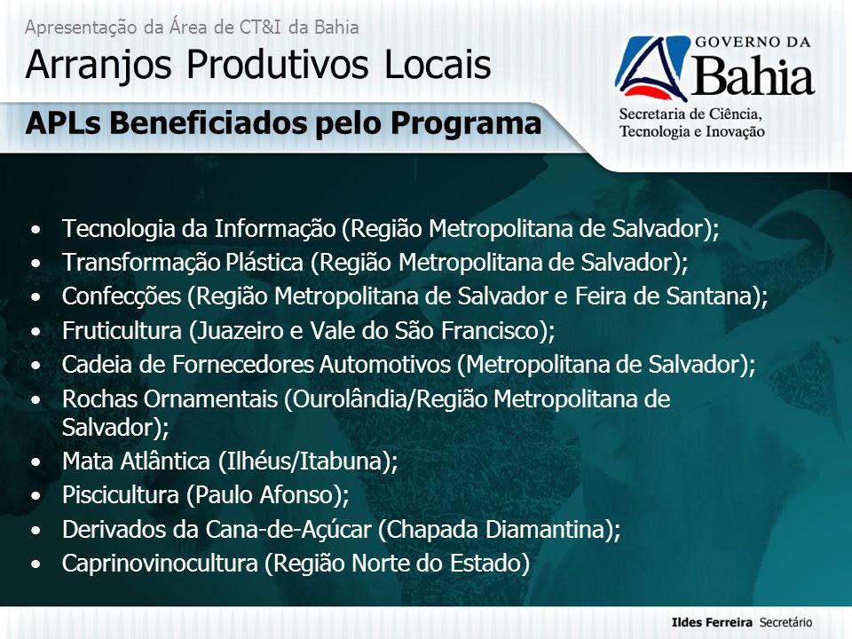 Apresentação da Área de CT&I da Bahia Arranjos Produtivos Locais