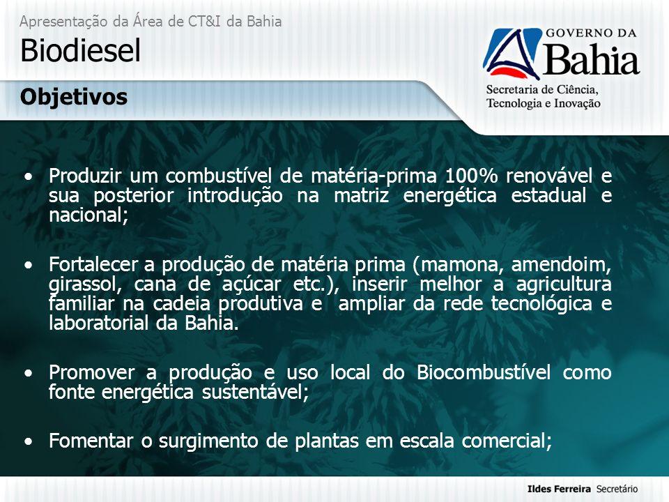 Apresentação da Área de CT&I da Bahia Biodiesel