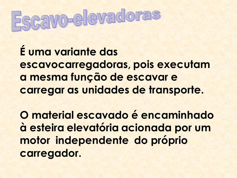Escavo-elevadoras É uma variante das escavocarregadoras, pois executam a mesma função de escavar e carregar as unidades de transporte.