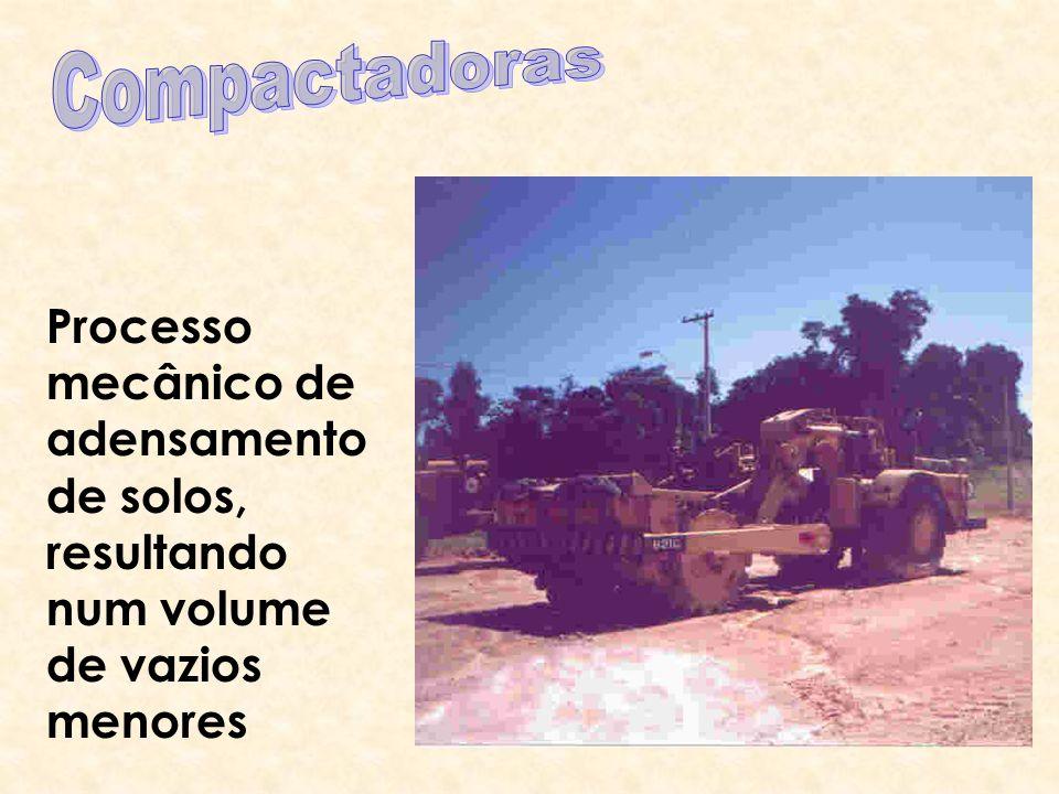 Compactadoras Processo mecânico de adensamento de solos, resultando num volume de vazios menores