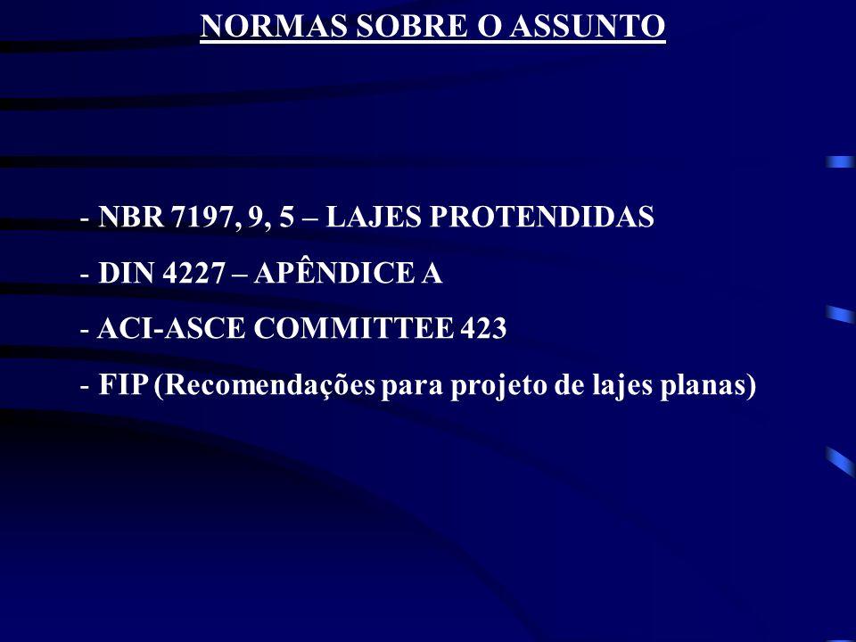 NORMAS SOBRE O ASSUNTO NBR 7197, 9, 5 – LAJES PROTENDIDAS
