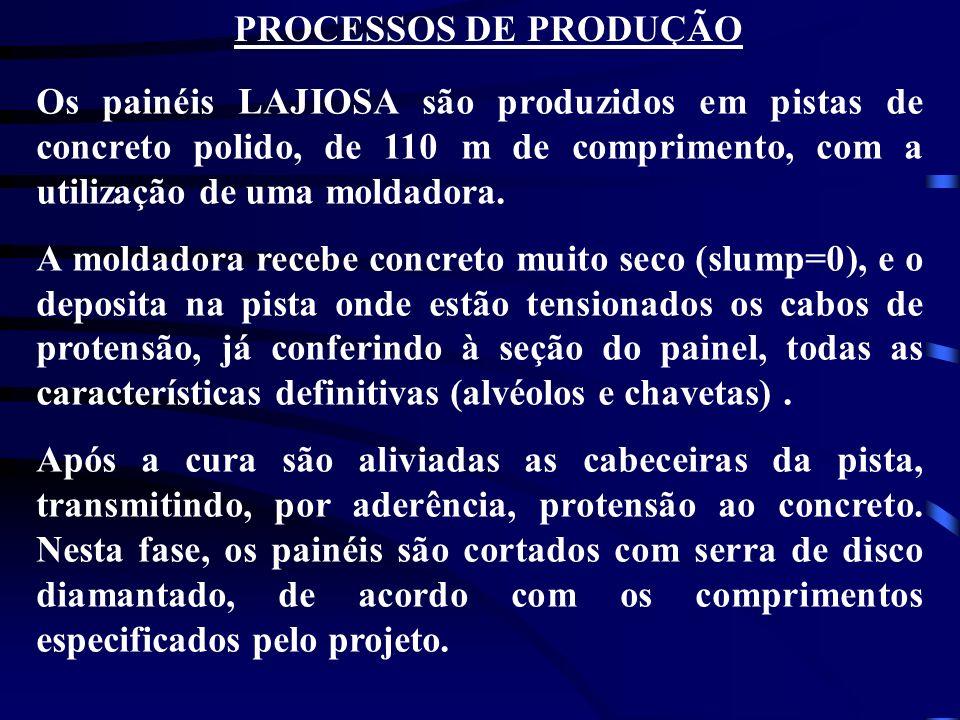 PROCESSOS DE PRODUÇÃO Os painéis LAJIOSA são produzidos em pistas de concreto polido, de 110 m de comprimento, com a utilização de uma moldadora.