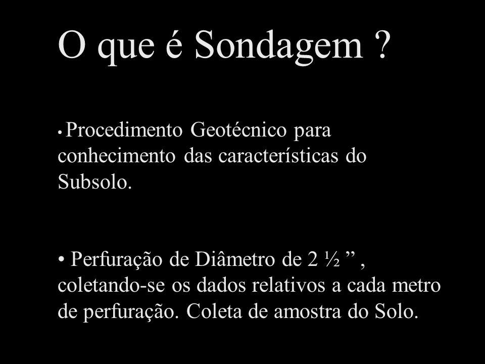 O que é Sondagem Procedimento Geotécnico para conhecimento das características do Subsolo.