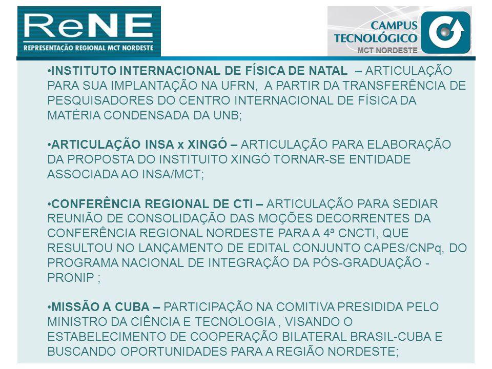 INSTITUTO INTERNACIONAL DE FÍSICA DE NATAL – ARTICULAÇÃO PARA SUA IMPLANTAÇÃO NA UFRN, A PARTIR DA TRANSFERÊNCIA DE PESQUISADORES DO CENTRO INTERNACIONAL DE FÍSICA DA MATÉRIA CONDENSADA DA UNB;