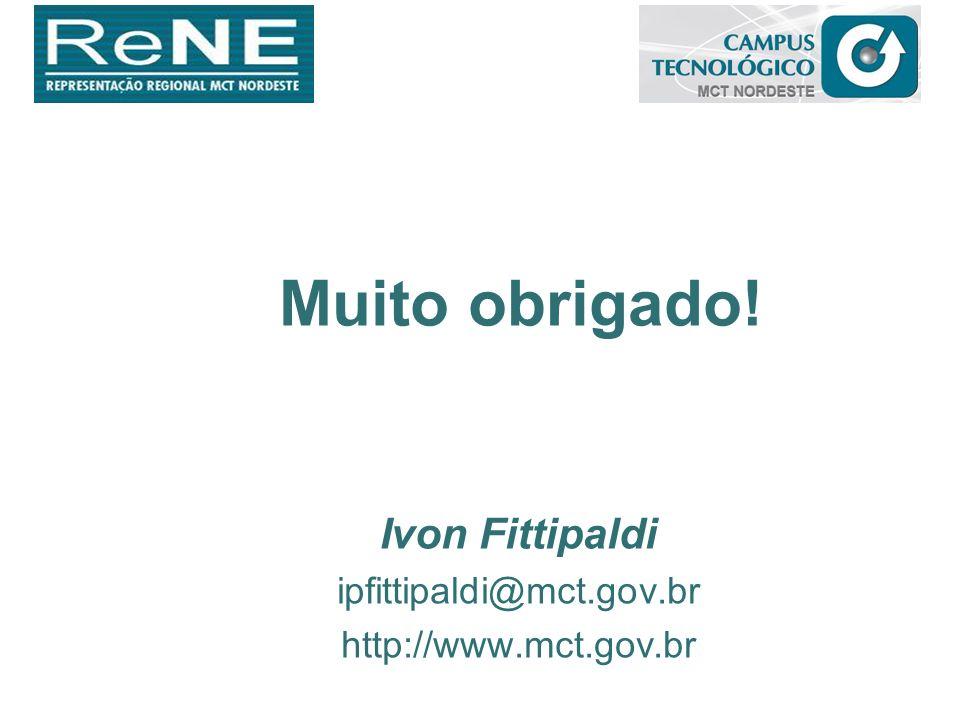 Muito obrigado! Ivon Fittipaldi ipfittipaldi@mct.gov.br