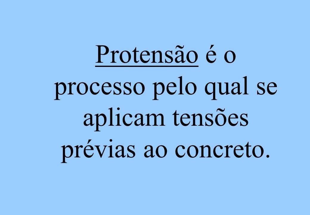 Protensão é o processo pelo qual se aplicam tensões prévias ao concreto.