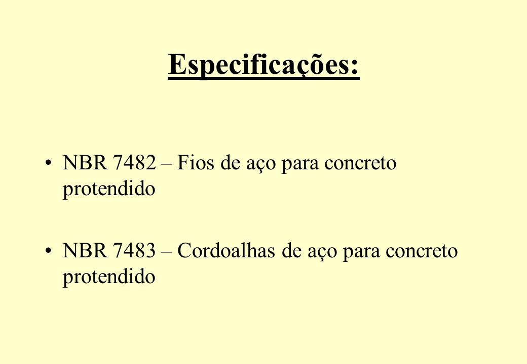 Especificações: NBR 7482 – Fios de aço para concreto protendido