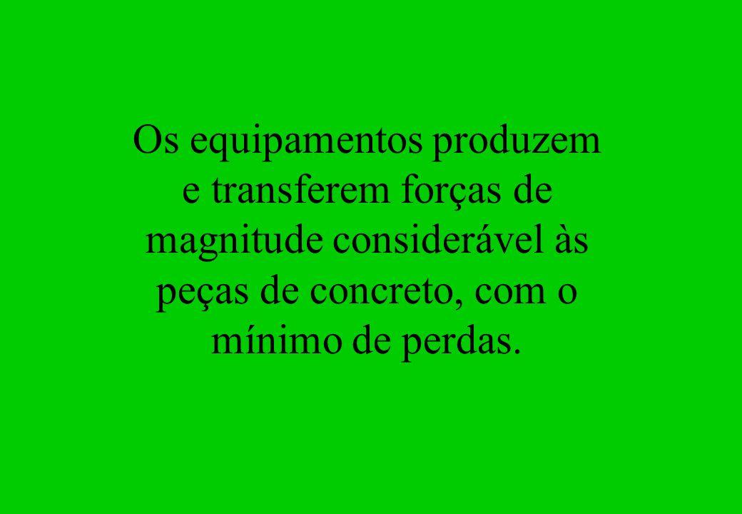 Os equipamentos produzem e transferem forças de magnitude considerável às peças de concreto, com o mínimo de perdas.