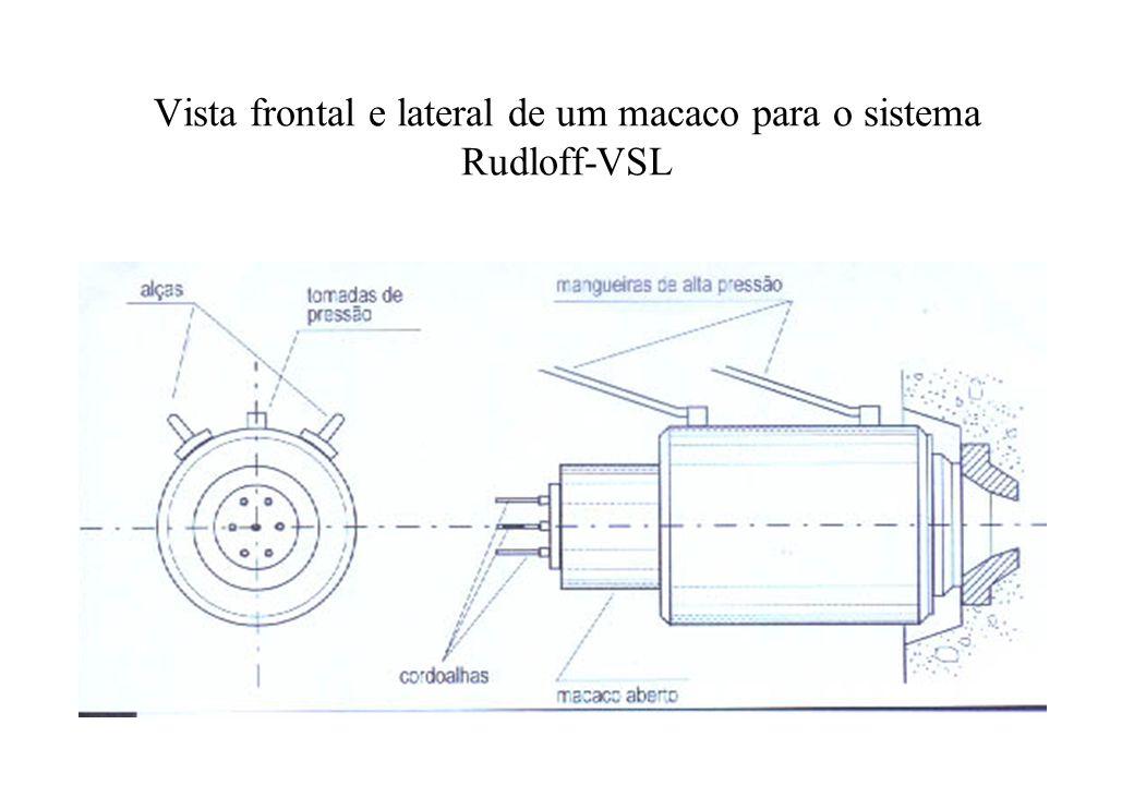 Vista frontal e lateral de um macaco para o sistema Rudloff-VSL