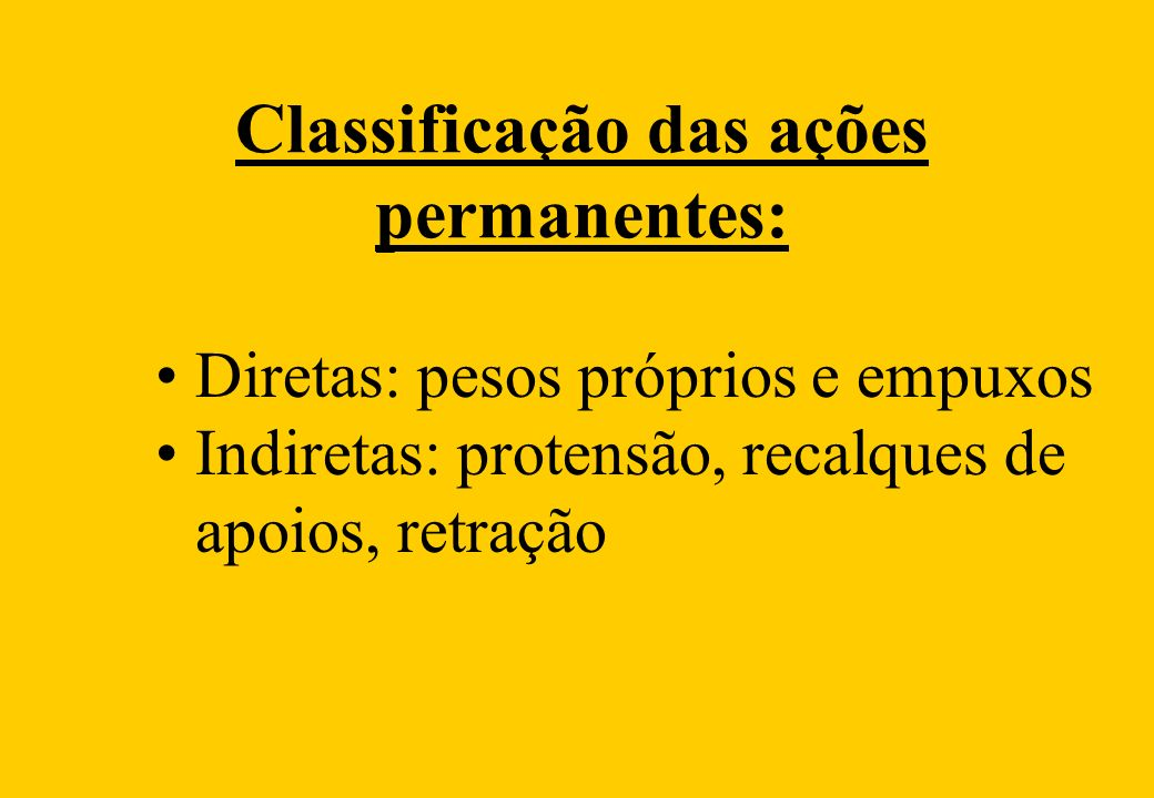 Classificação das ações permanentes: