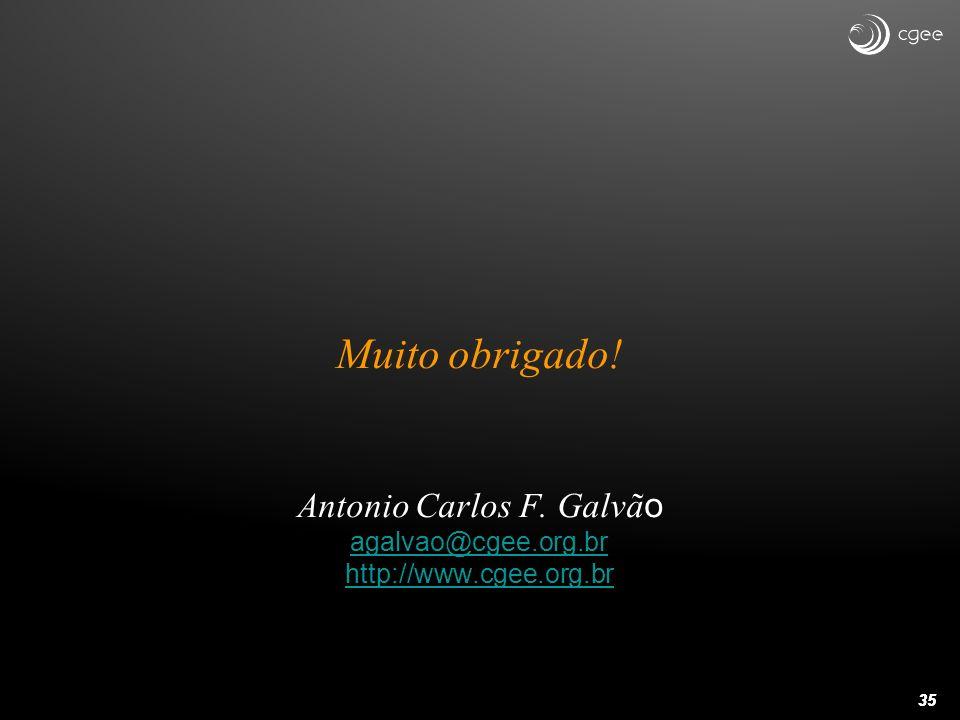 Muito obrigado. Antonio Carlos F. Galvão agalvao@cgee. org