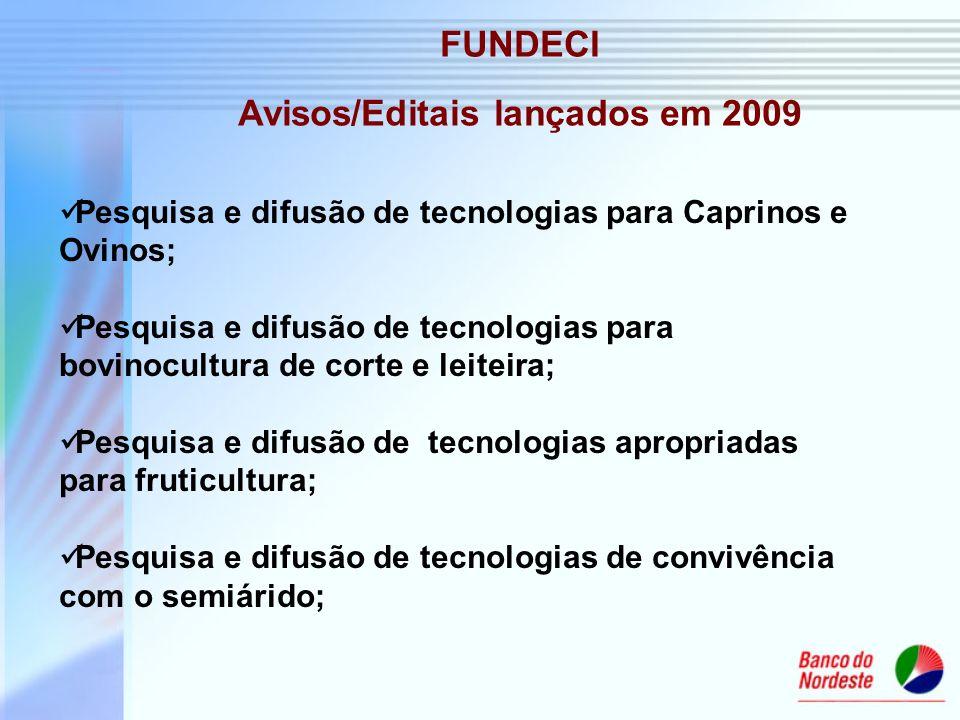 FUNDECI Avisos/Editais lançados em 2009