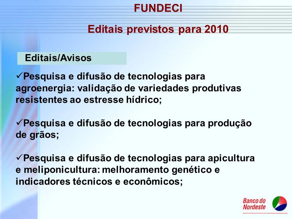 FUNDECI Editais previstos para 2010