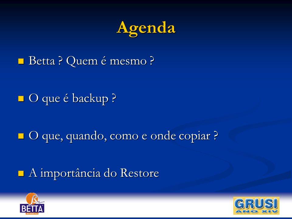 Agenda Betta Quem é mesmo O que é backup