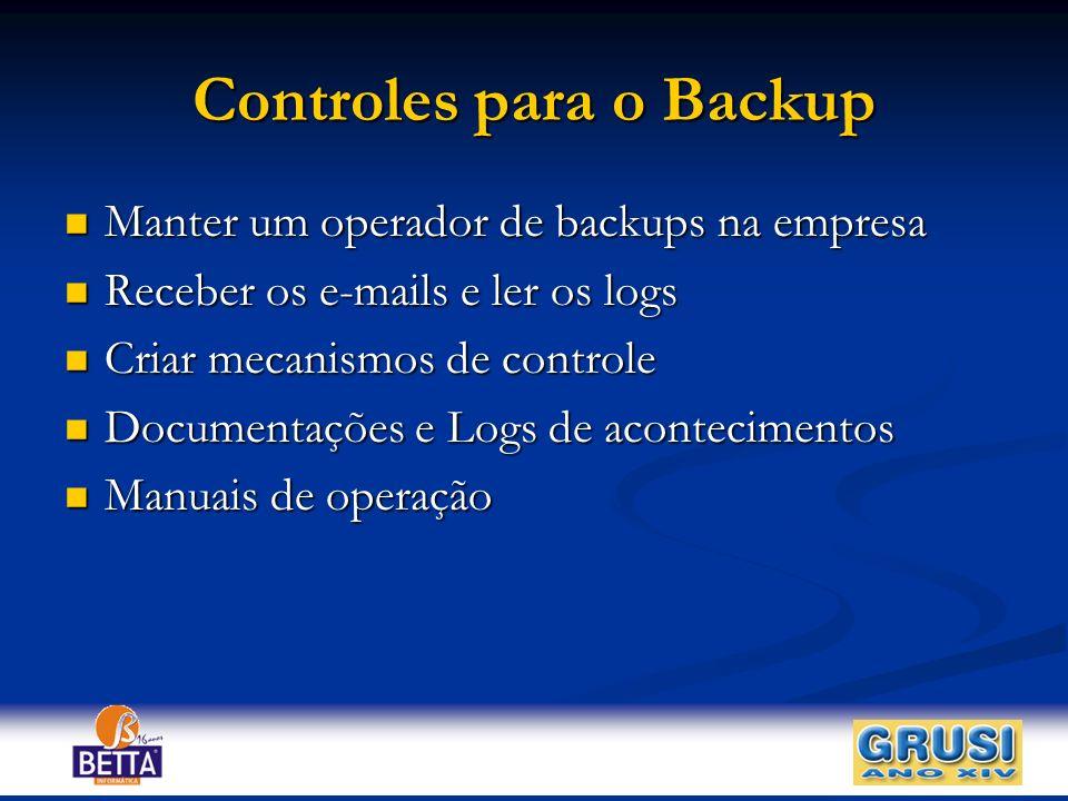 Controles para o Backup