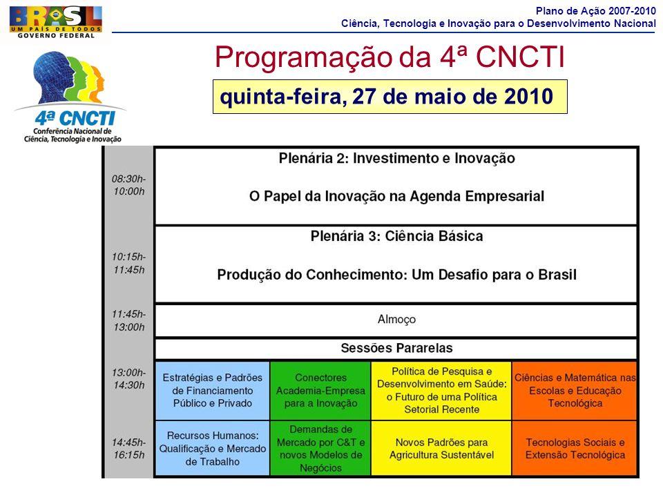 Programação da 4ª CNCTI quinta-feira, 27 de maio de 2010
