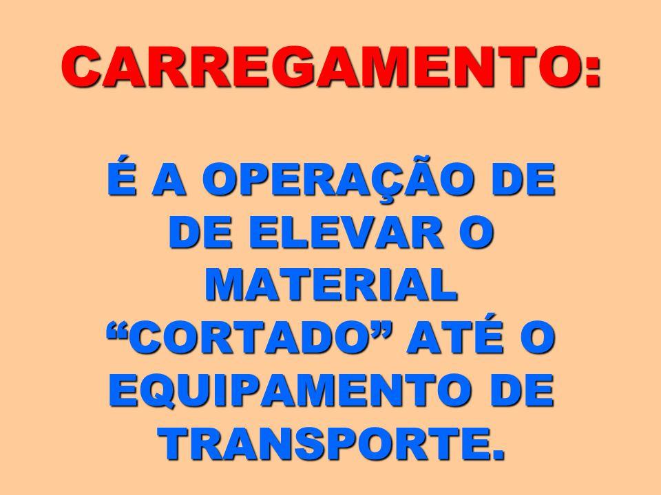CARREGAMENTO: É A OPERAÇÃO DE DE ELEVAR O MATERIAL CORTADO ATÉ O EQUIPAMENTO DE TRANSPORTE.