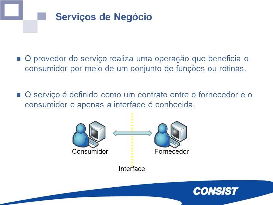 Serviços de Negócio O provedor do serviço realiza uma operação que beneficia o consumidor por meio de um conjunto de funções ou rotinas.